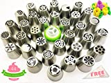 Russian Piping Tips Complete Set - 44 pcs/set - Professional Stainless Steel Large Icing Nozzles for Cake Cupcake Tart Cookie Flower Decorating by VISUON Home
