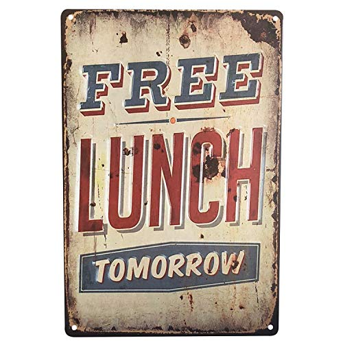 (UNIQUELOVER Free Lunch Tomorrow,Retro Vintage Metal Tin Signs Pub Bar Decor)