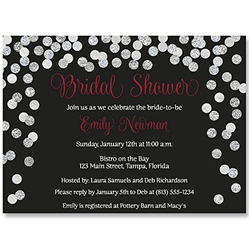 Bridal Shower Invitations, Red, Black, White, Confetti, Glitter, Sparkle, Wedding Shower, Champagne Brunch, Personalized, Set of 10 Custom Printed Invites with Envelopes, Brunch and Bubbly, Winter]()