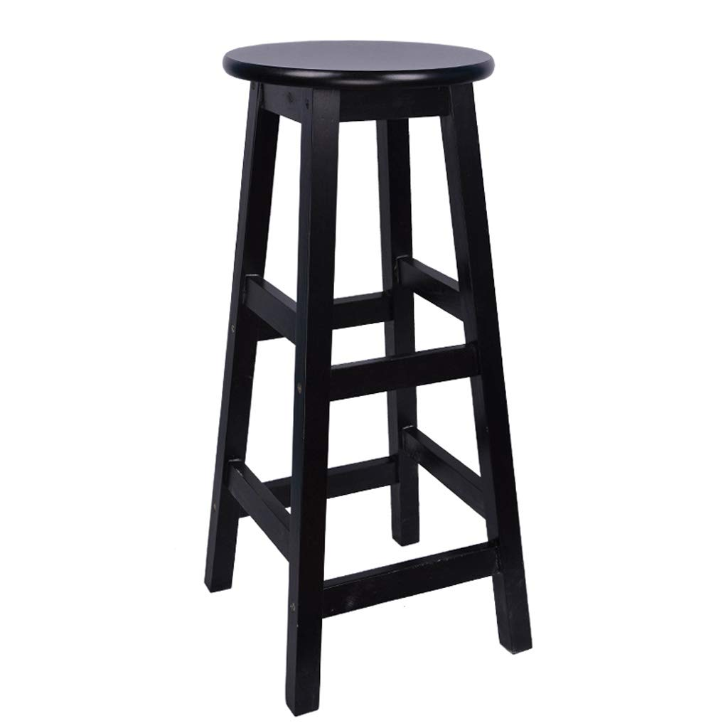 BLACK 70CM GY Solid Wood Bar Stool, Square Leg Counter High Stool, Tabby Stool Bar Chair, Home Kitchen Island Breakfast Footstool, 4 colors, 60cm 70cm 80cm (color   Beige, Size   80 cm)