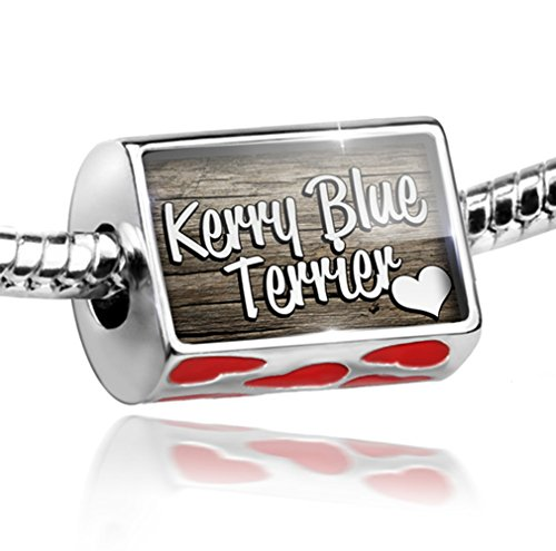 Blue Kerry Dog Charm Terrier (NEONBLOND Bead with Hearts Kerry Blue Terrier, Dog Breed Ireland - Charm Fit All European)