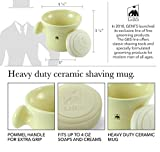Ceramic Heavy Duty Shaving Soap Bowl / Mug with Large Knob Handle- 3 Oz All Natural Ocean Driftwood Soap Included! (Ivory)