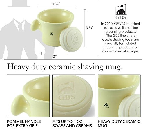 Ceramic Heavy Duty Shaving Soap Bowl / Mug with Large Knob Handle- 3 Oz All Natural Ocean Driftwood Soap Included! (Ivory) by GBS