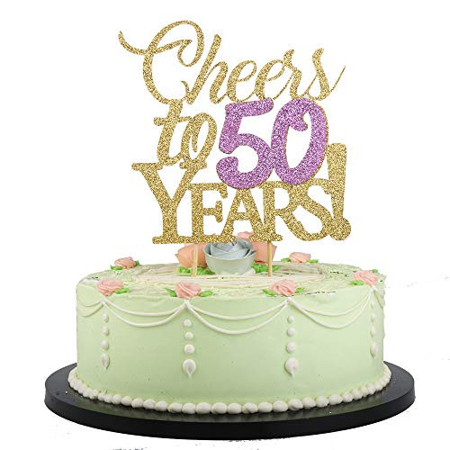 LVEUD Gold Color Font Purple Numbers Cheers to 50 Years Happy Birthday Cake Topper -Wedding,Anniversary,Birthday Party Decorations (50th) -