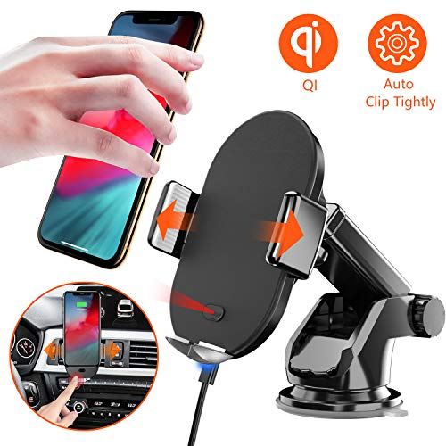 Seiaol Qi Ladestation Auto 10W/7.5W,3 in 1 Qi HandyHalterung Auto Wireless Automatisch Induktions Lüftung & Armaturenbrett KFZ Handy Halterung Für iPhone XR/X/XS Max/8 Plus/Samsung S10/S9/S8/S7