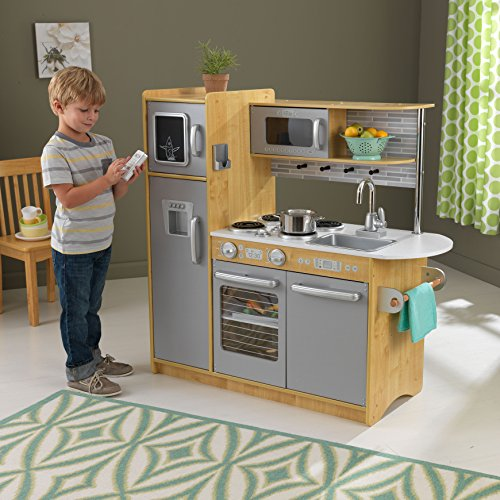 KidKraft Uptown Natural Wooden Play Kitchen with Play Phone, Chalkboard & Towel Rack, Gift for Ages 3+