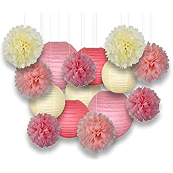 Just Artifacts Decorative Paper Party Pack (15pcs) Paper Lanterns and Pom Pom Balls - Ivory/Pinks - Paper Lanterns and Décor for Birthday Parties, Baby Showers, Weddings and Life Celebrations!