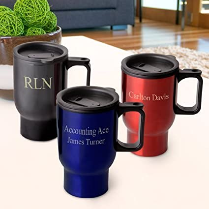 amazon com personalized travel mug by abernook kitchen dining