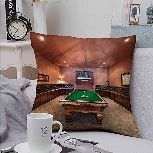 Fbdace Soft Microfiber Throw Pillowcase Set Modern Pool Table Billiard for Sofa Bedroom Car 14 X 14 Inch ()