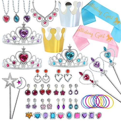 fedio Princess Jewelry Set 54Pcs Girls Princess Dress up Accessories Party Favors Pack with Crowns, Wand, Jewels, Birthday Sash for Little Girls -