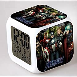 Enjoy Life : Cute Digital Multifunctional Alarm Clock With Glowing Led Lights and stickered Avengers Thor Captain America Hulk Good Gift For Your Kids , Comes With Bonuses Part 1 (04)