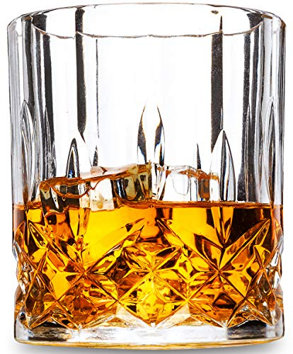 Old Fashioned Whiskey Glasses - 10 Oz - Set of 4 - LANFULA Premium Lead Free Crystal Cocktail Glass Tumbler for Scotch, Bourbon or Whisky