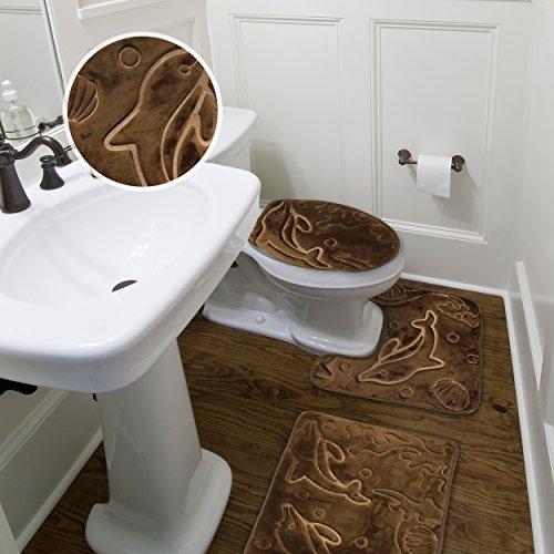 Amazon.com: Elvoki 3 Piece Bathroom Rug Mat Set Memory Foam And Contour Rug  Sets (19