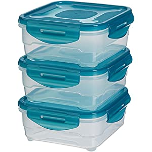AmazonBasics 3pc Airtight Food Storage Containers Set, 3 x 0.80 Liter,Multicolour