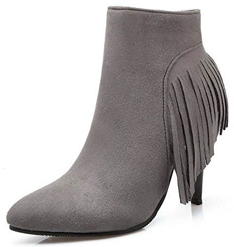 Easemax Women's Sweet Fringe Faux Suede Pointy Toe Zip Up High Stiletto Heel Short Ankle Boots Grey