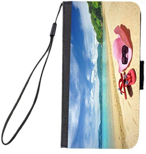 Rikki Knight Pink Sunhat Flip-Flops On Sandy Beach Design...