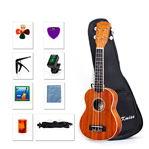 Kmise Ukulele Beginner Kit 21 inch Soprano Ukelele Hawaii Guitar With Tuner String Picks Starter Preferred
