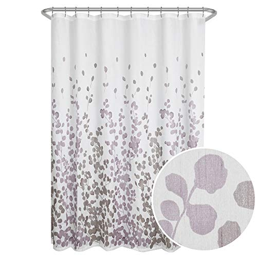 Maytex Sylvia Printed Faux Silk Fabric Shower Curtain, Purple ()