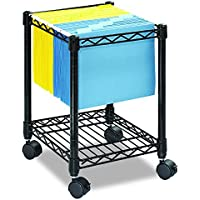 Safco 5277BL Compact Mobile Wire File Cart, One-Shelf, 15-1/2w x 14d x 19-3/4h, Black