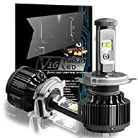 CougarMotor H4 (9003 High/Low) 80W LED Headlight Bulbs All-in-One Conversion Kit,7200 Lumen (6000K Cool White)