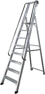 KTL Escalera Industrial de Aluminio Tijera un Acceso 8 peldaños Serie XL-s: Amazon.es: Hogar