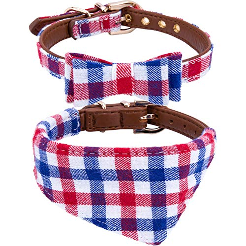 StrawberryEC Puppy Collars for Small Dogs Adjustable Puppy Id Buckle Collar Leather. Cute Plaid Bandana Blue Dog Collar (Bow+Bandana-Blue)