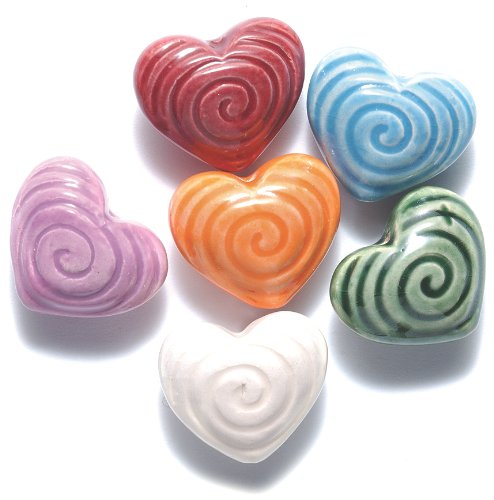Peruvian Hand Crafted Ceramic Heart with Spiral Mixture, 22mm, 10 per Pack