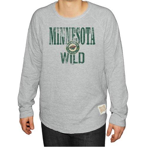 Original Retro Brand NHL Minnesota Wild Men's Long Sleeve Deconstructed Raglan Shirt, Large, Heather Grey - Minnesota Wild Long Sleeve