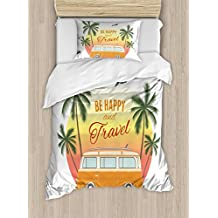 Ambesonne Surf Duvet Cover Set Twin Size, Retro Surf Van with Palms Camping Relax Hippie Travel Be Happy Free 60s Theme, Decorative 2 Piece Bedding Set with 1 Pillow Sham, Orange Green Yellow