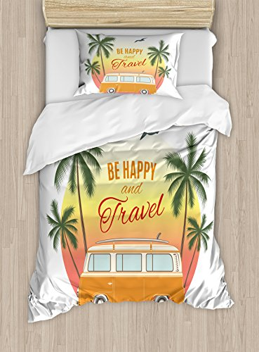 (Ambesonne Surf Duvet Cover Set Twin Size, Retro Surf Van with Palms Camping Relax Hippie Travel Be Happy Free 60s Theme, Decorative 2 Piece Bedding Set with 1 Pillow Sham, Orange Green Yellow)