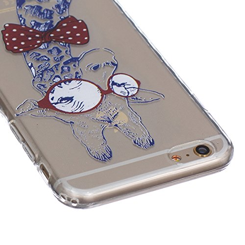 GrandEver TPU Cover per iPhone 6 Plus iPhone 6S Plus, UltraSlim Trasparente Morbido Gel Silicone Custodia Flexible Soft Protettivo Anti-graffio Case Copertura Disegno Bella - Mancare Giraffa