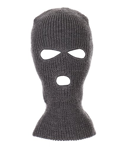 RufnTop Ski Mask for Cycling & Sports Motorcycle Neck Warmer Beanie Winter Balaclava Cold Weather Face Mask(3 Holes Dark Grey One Size) ()