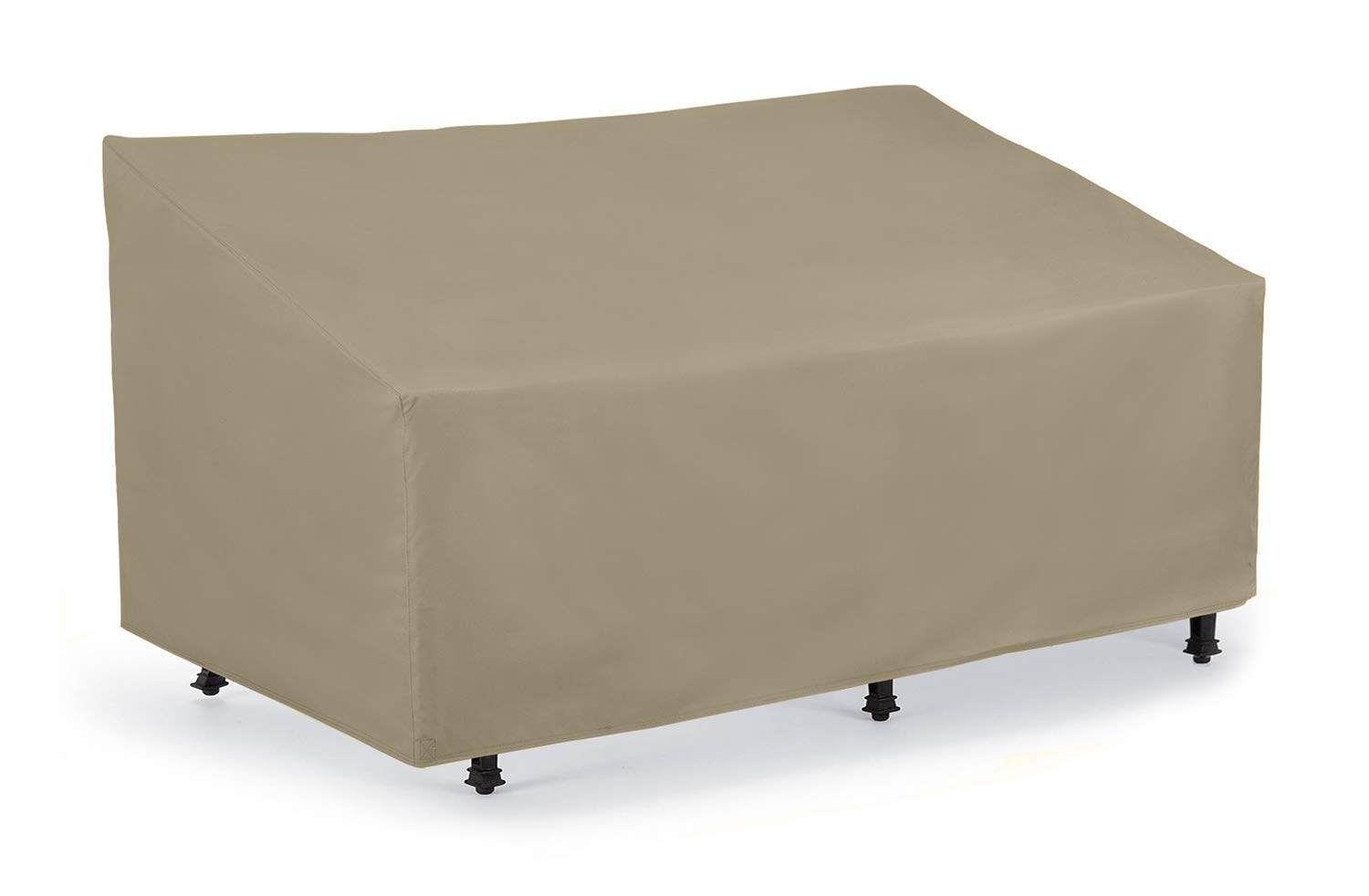SunPatio Outdoor Patio Loveseat Sofa Cover, Waterproof Veranda Bench Cover with Seam Taped, Patio Furniture Cover with Air Vent, Light Weight, All Weather Protection, 60''L x 36''W x 30''H, Neutral Taupe by SunPatio