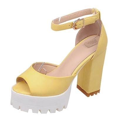 UH Damen Chunky Heels Sandalen Peep Toe Riemchensandalen mit Blockabsatz Komfort Schuhe