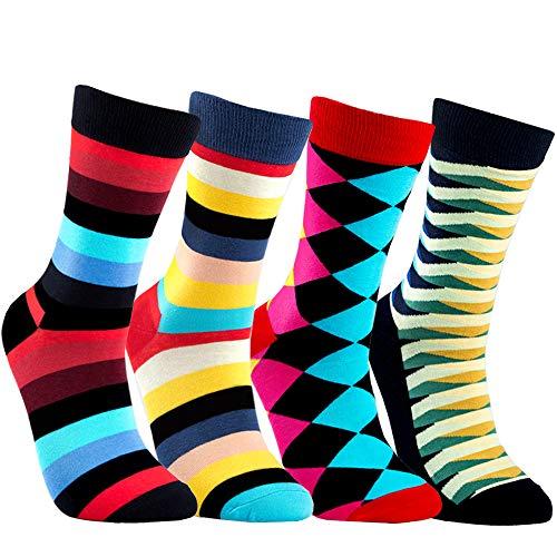 Men's Colorful Crew Dress Pattern Socks Fashionable funky cool Long Cotton Crew Striped Novelty Socks for Men boys (4 pack)