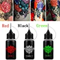 Henna Tattoo Kit, Henna Tattoo Paste Cone, Semi-Permanent Tattoo Paste, Black Red Green Body Art Coating,Natural Organic,3PCS Tattoo 3 Stencils and 10 Cotton Swabs for Women