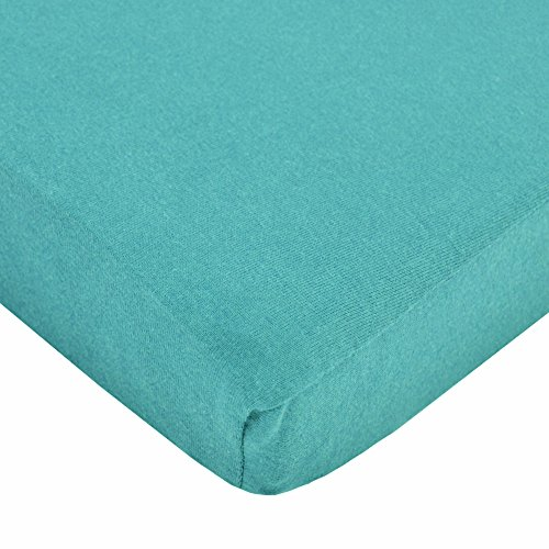 TL Care Supreme 100% Natural Cotton Jersey Knit Fitted Crib Sheet for Standard Crib and Toddler Mattresses, Turquoise, 28