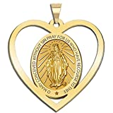 Miraculous Medal Heart Shaped Cut-out 14K Yellow or White Gold, or Sterling Silver