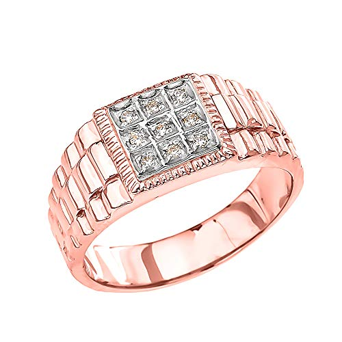 Men's Fine 10k Rose Gold Diamond Square Watch Band (Size 8.5) from Men's Fine Jewelry