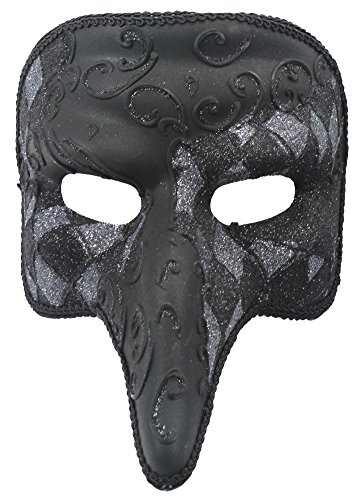 RedSkyTrader Mens Checkered Short Nose Venetian Mask One Size Fits Most (Silver Venetian Long Nose Mask)