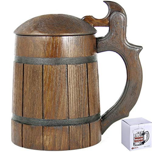 (Wooden Beer Mug Lid Men. Craft IPA Beer Drinking Cup. Pint Wood Stein. Viking Ale Mead Dad Tankard Handle. Funny Fathers Day Tumbler, Birthday Anniversary Gifts. Cute Man Cave Decor, Party Accessories)