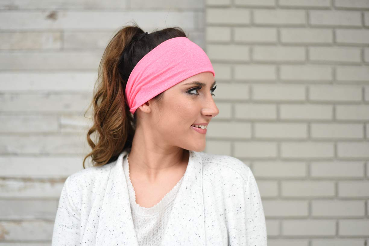 FITNESS FOX Modern Jersey Tri-Fold Headband Yoga Running Exercise Sports Workout Athletic Gym Wide Sweat Wicking Stretchy No Slip 3 Pack Grey Coral Mint