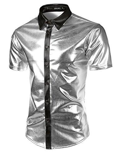 JOGAL Men's Trend Nightclub Styles Metallic Silver Button Down Shirts X-Large Silver]()