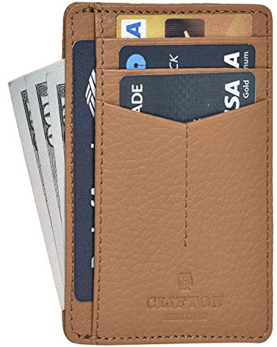 - RFID Front Pocket Slim Wallets- Genuine Leather Handmade Minimalist Credit Card Holder By Clifton Heritage
