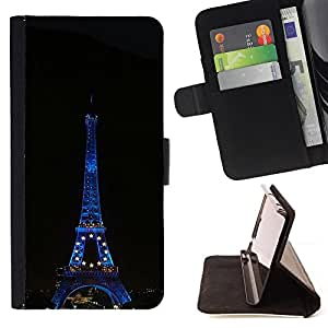 For Samsung Galaxy S3 III I9300 - Architecture Eiffel Tower At Night /Funda de piel cubierta de la carpeta Foilo con cierre magn???¡¯????tico/ - Super Marley Shop -
