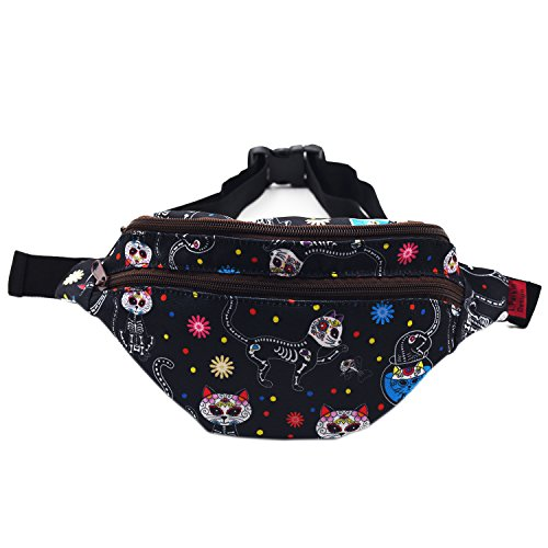 (LParkin Day of the Dead Cats Gifts Fanny Pack Waist Hip Pouch Bags Dia de los Muertos Sugar Skull)