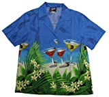 RJC Women Floating Martini Camp Shirt in Blue - 2X Plus