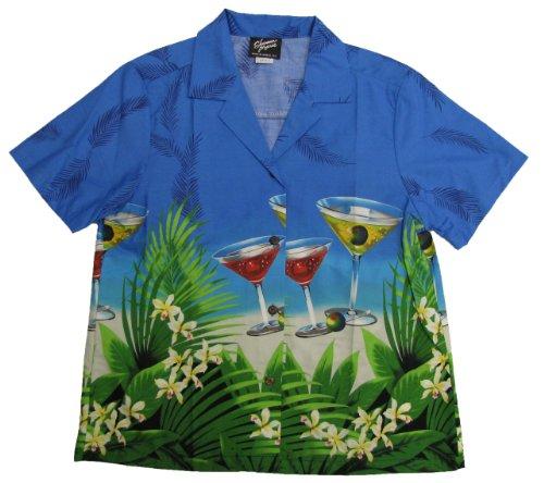 RJC Women Floating Martini Camp Shirt in Blue - 2X Plus by RJC Women