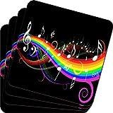 Musica Best Deals - Rikki Knight diseño arcoíris y música notas suaves cuadrados posavasos cerveza (juego de 2), Multicolor