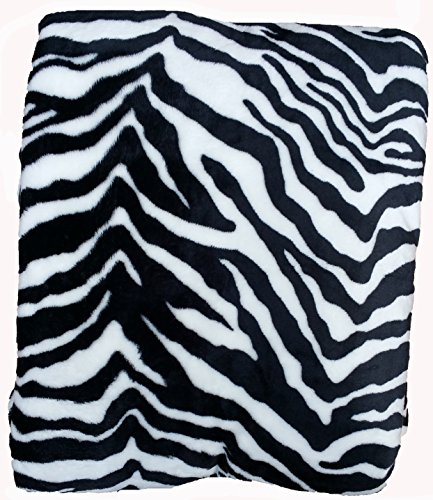 Fancy Collection Super Soft Flannel Blanket Animal Print (Queen, Zebra Black/White)